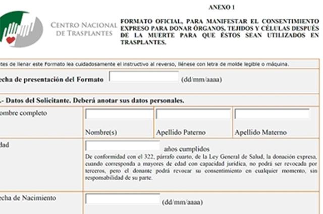 Publican El Formato Oficial Para La Donación De órganos