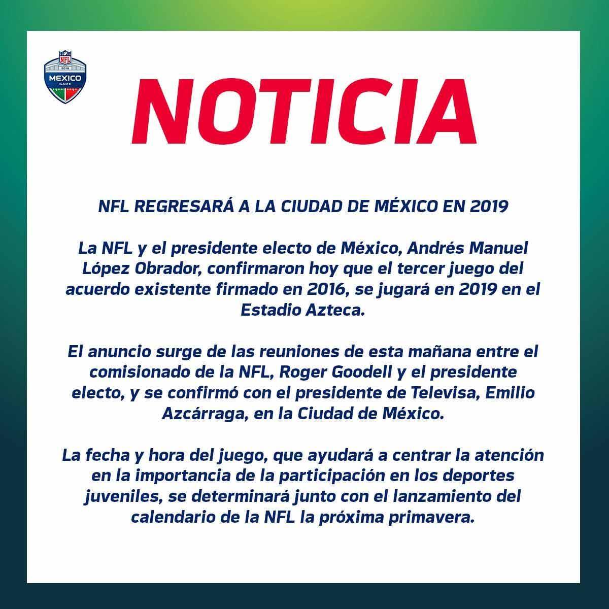 Nfl Vuelve A Mexico En 2019