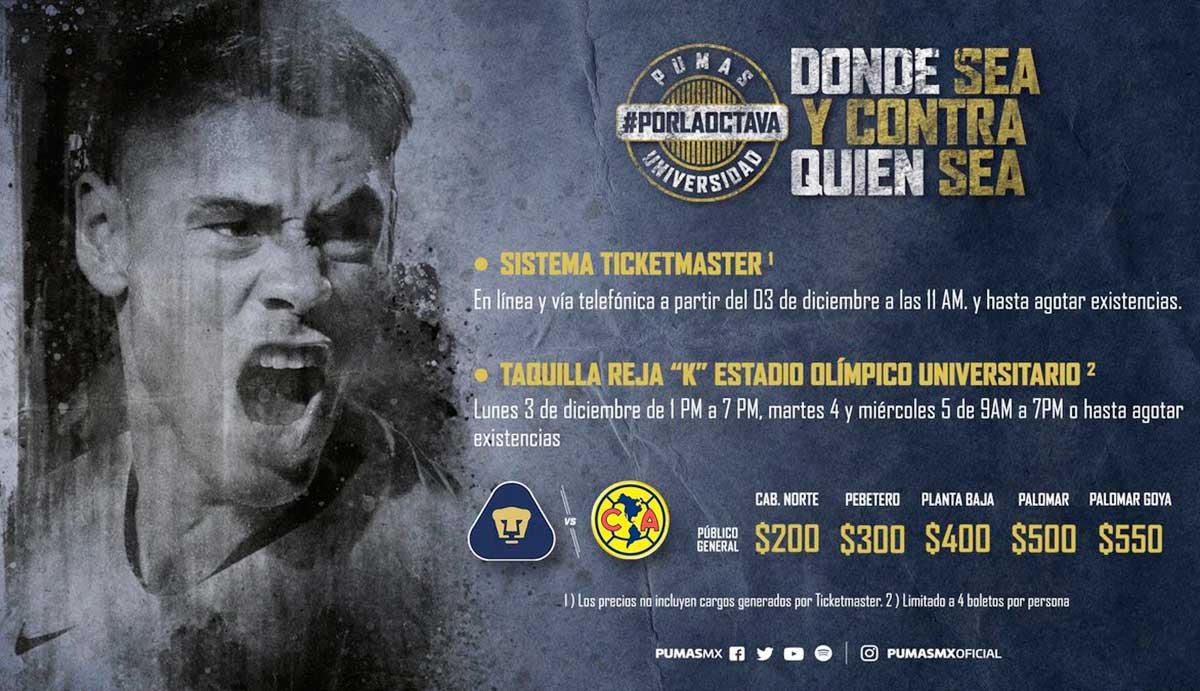 004d91c96 Salen a la venta boletos para el Pumas vs. América pumas unam boletos