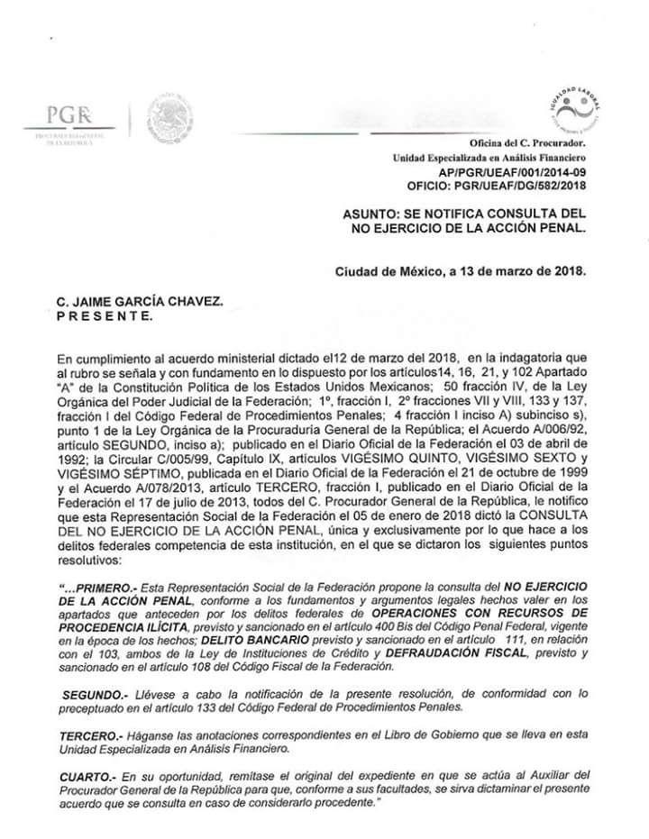 César Duarte dormirá en paz: PGR no ejercerá acción penal en contra