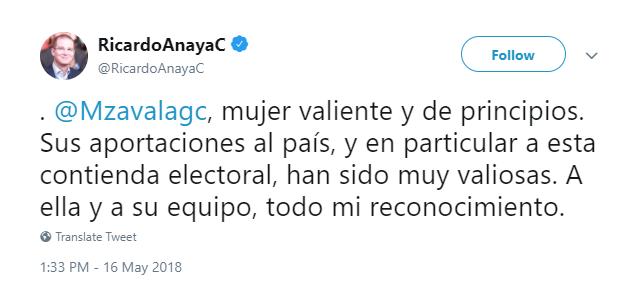 Captura de pantalla del tweet de Ricardo Anaya