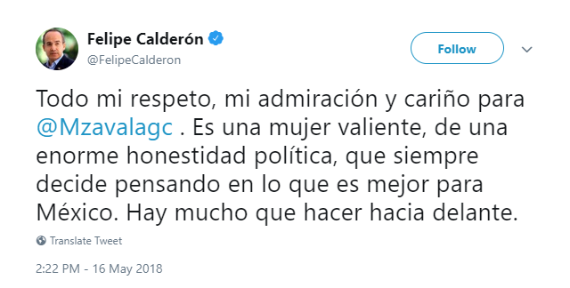 Captura de pantalla del tweet de Felipe Calderón