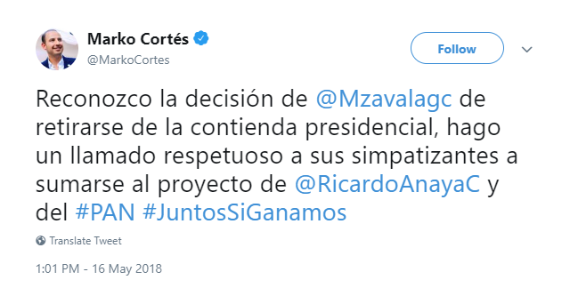 Captura de pantalla del tweet de Marko Cortés