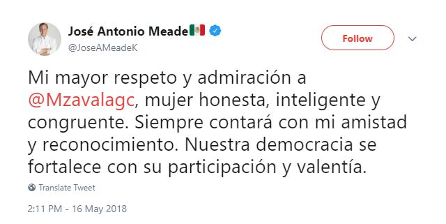 Captura de pantalla del tweet de José Antonio Meade