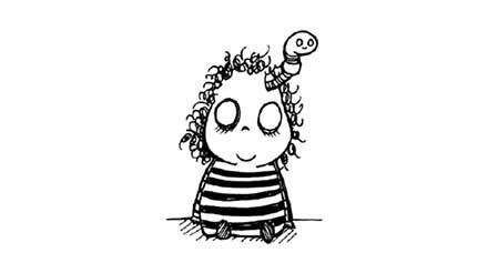 Dibujo de una niña a la que le sale un gusano de la cabeza