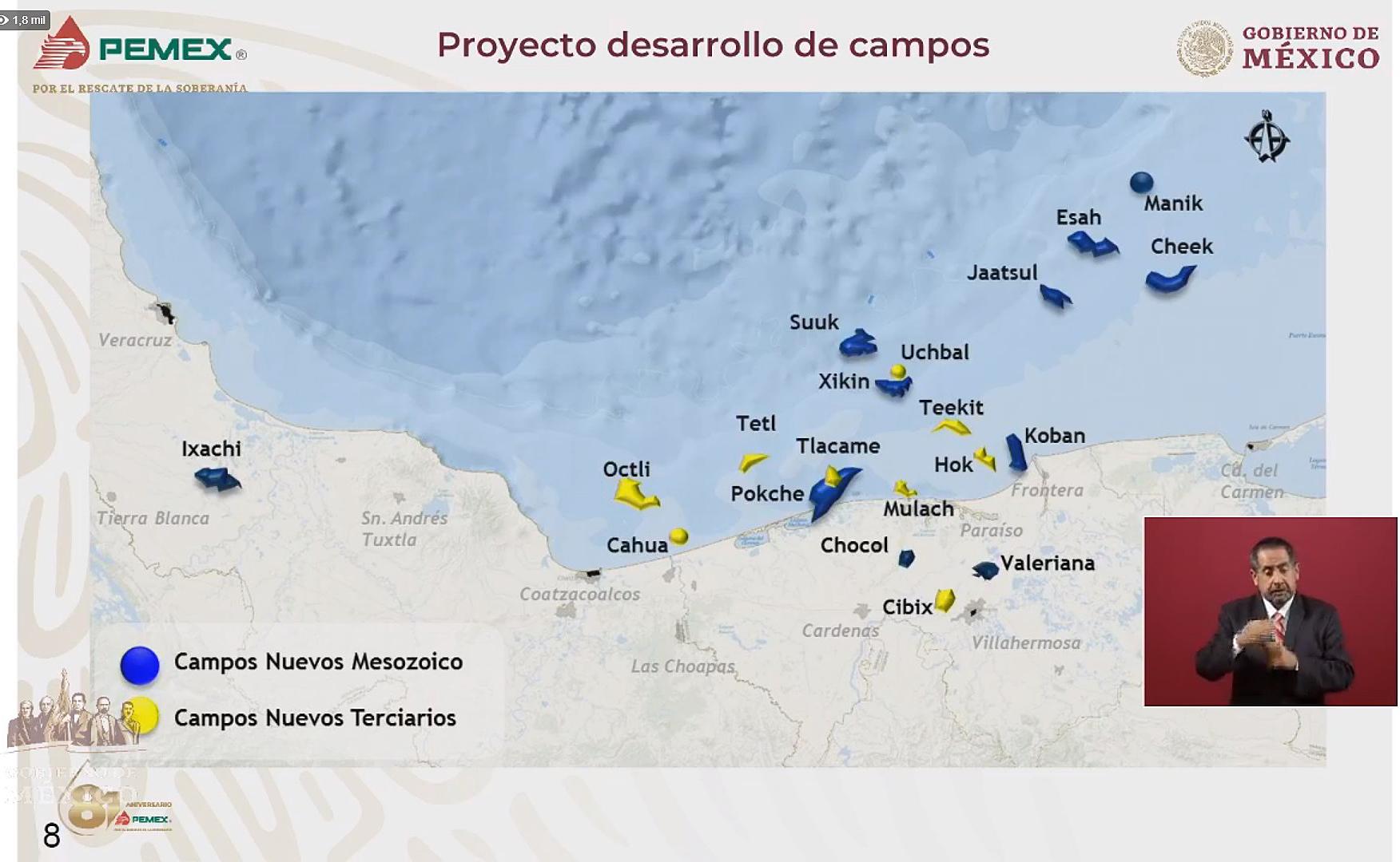 """A poco más de 100 días del actual gobierno, el titular de Petróleos Mexicanos (Pemex), Octavio Romero Oropeza, afirmó que la caída de producción de petróleo """"ya se detuvo"""" y se ha estabilizado, por lo que confía que con el desarrollo de 20 campos este año se incrementará la fabricación del hidrocarburo. Imagen: Captura de video"""