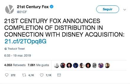 Tuit en el que se anuncia la adquisición de la empresa Fox por parte de Disney
