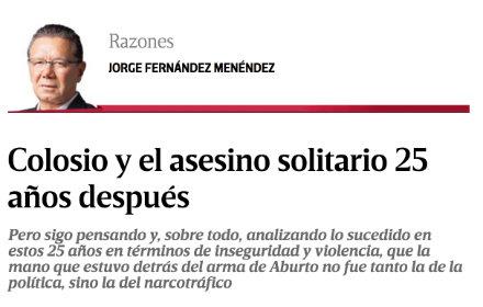 Artículo de Jorge Fernández Menéndez sobrer Colosio