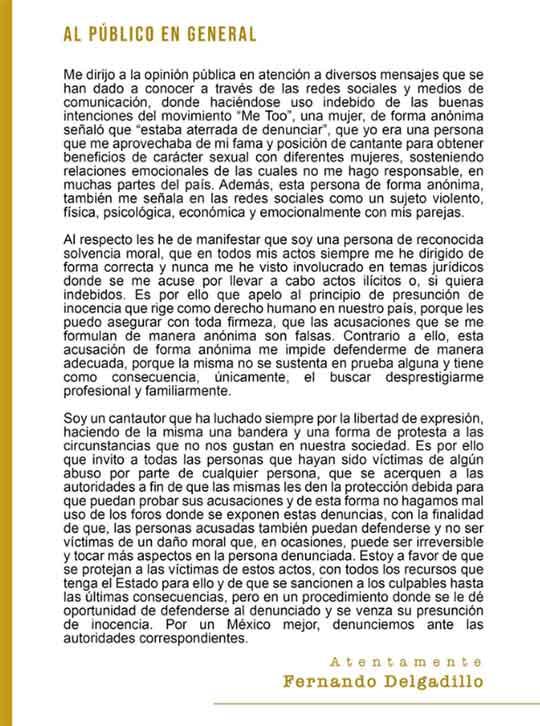 Comunicado de Fernando Delgadillo