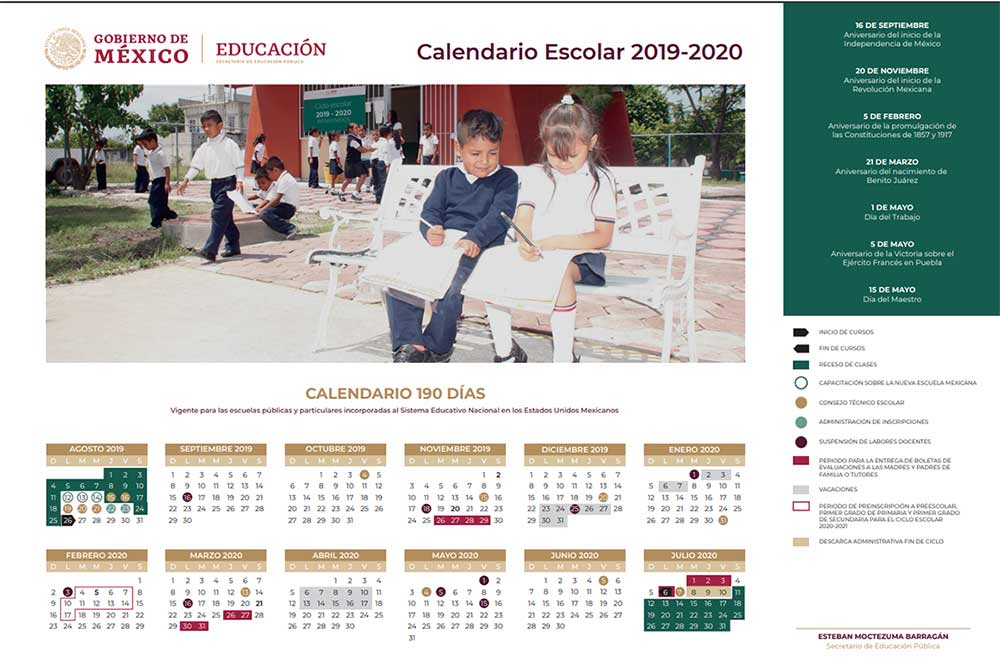 Calendario Loteria Nacional 2020.Calendario Escolar 2019 2020 Calendario Unico De 190 Dias