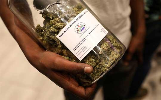 Un joven sostiene un frasco de cannabis