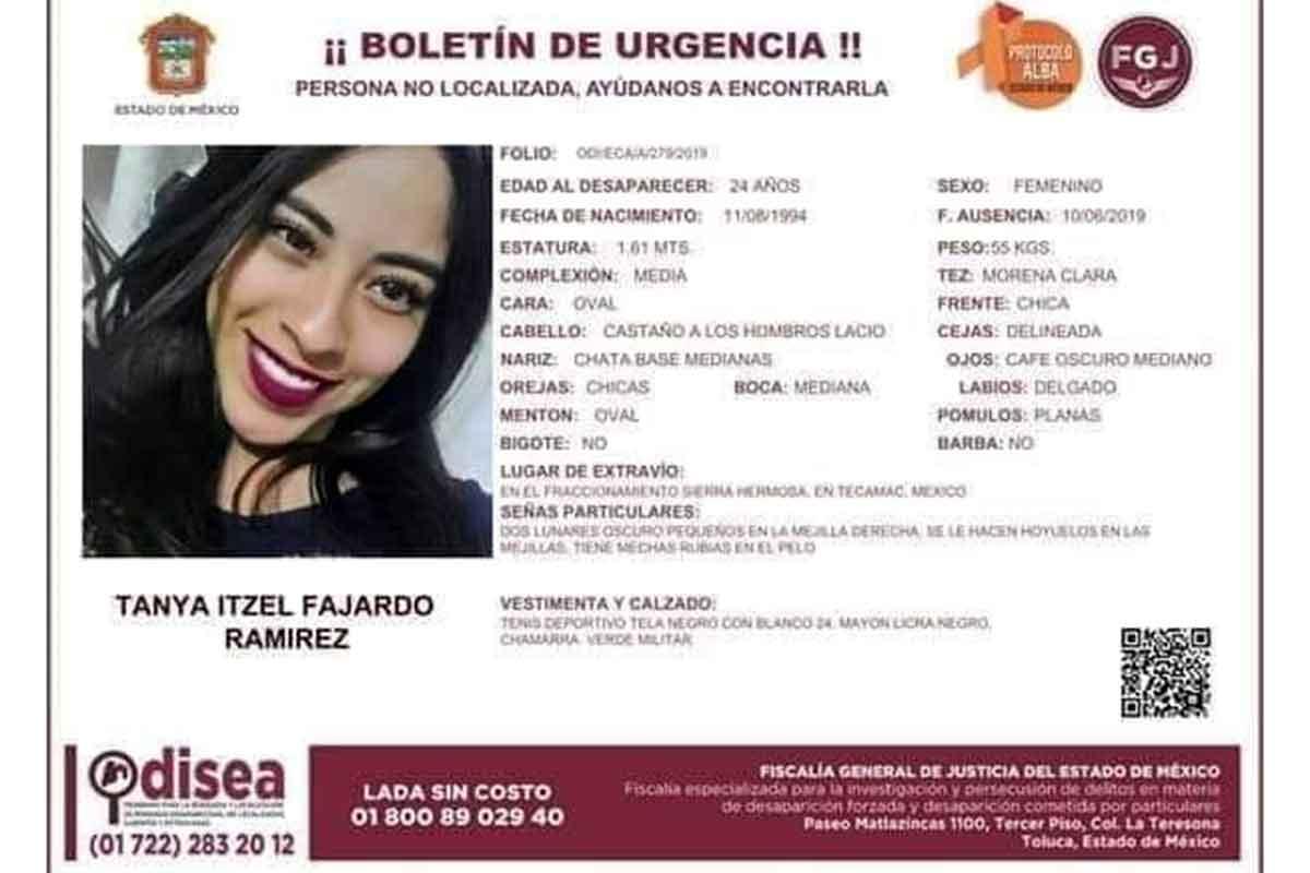 Tanya Itzel Fajardo Ramírez desapareció en el municipio de Tecámac
