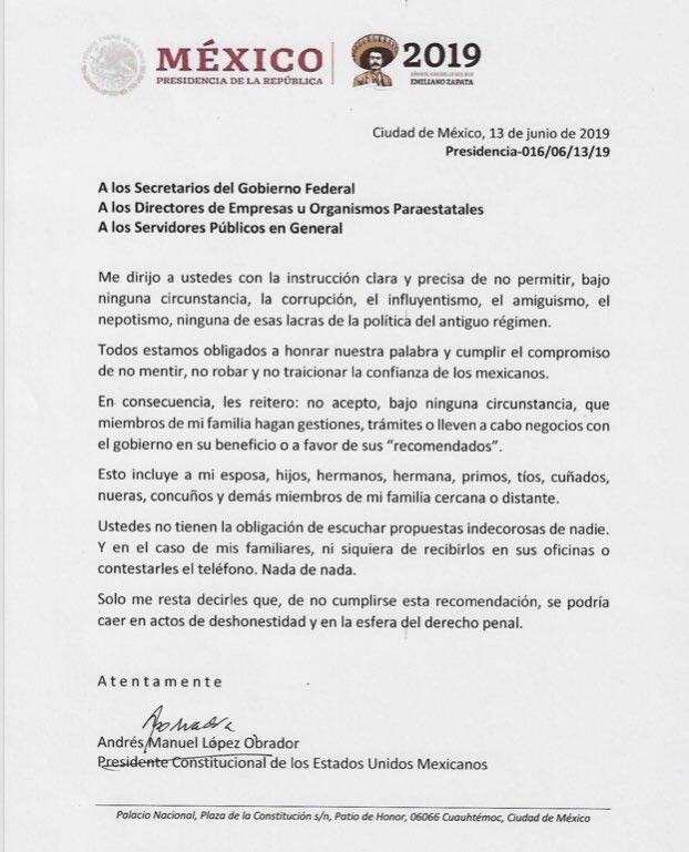 El presidente Andrés Manuel López Obrador hizo público un memorándum