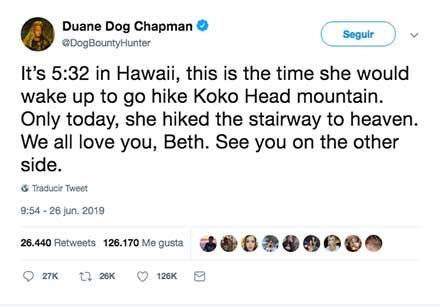 Tuit anunciando la muerte de Beth Chapman
