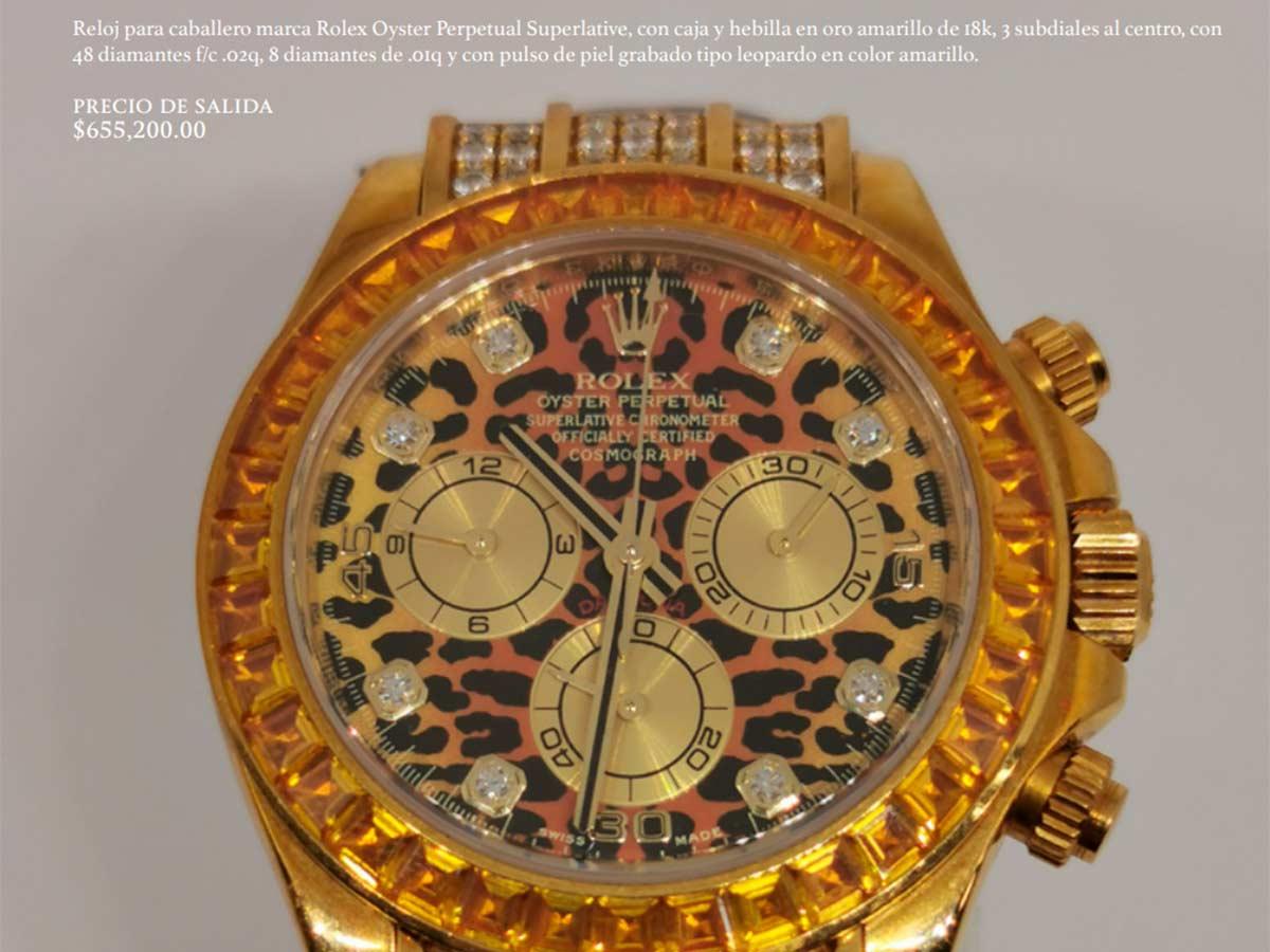 Entre los relojes a subastar se encuentra este Rolex con valor inicial de $655,200