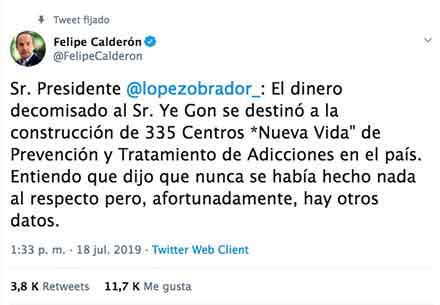 Tuit de Felipe Calsderón