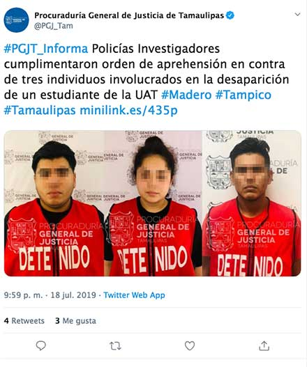 Tuit de la policía de Tamaulipas