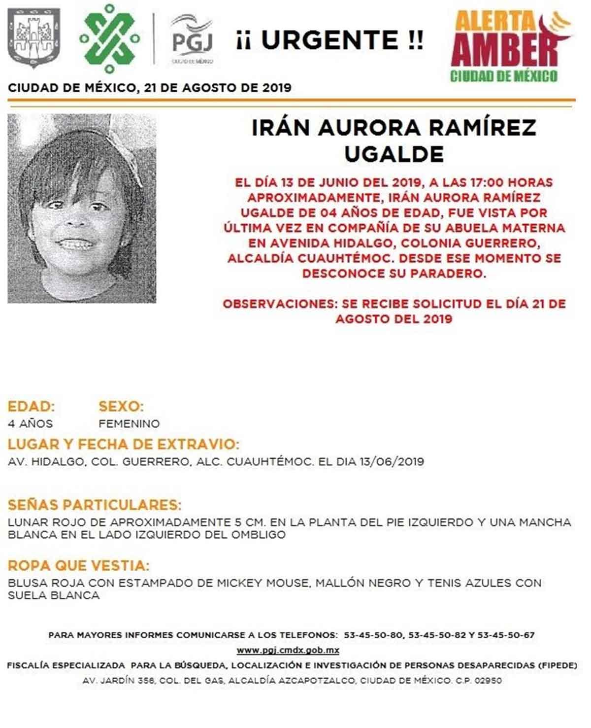 Irán Aurora Ramírez Ugalde desapareció desde el 13 de junio.