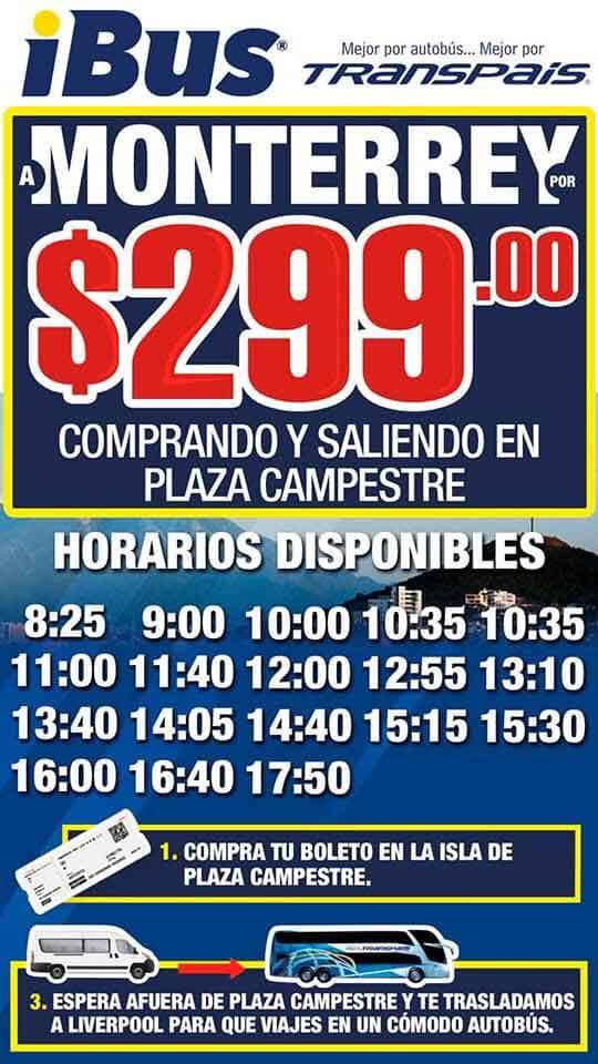 Letrero con la oferta de 600 a 299 por el viaje Ciudad Victoria-Monterrey