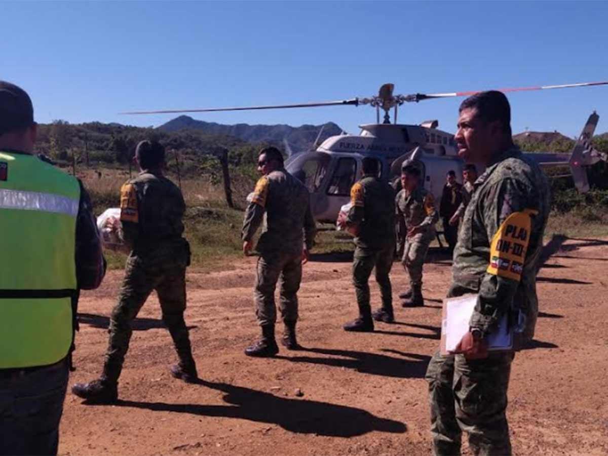 El puente aéreo se estableció con dos helicópteros Bell 407, de la FAM, desde Tamazula hasta Topia y Canelas, con lo que fueron beneficiadas las comunidades de Vega de Oso, Sianori, El Barco y la Coluta