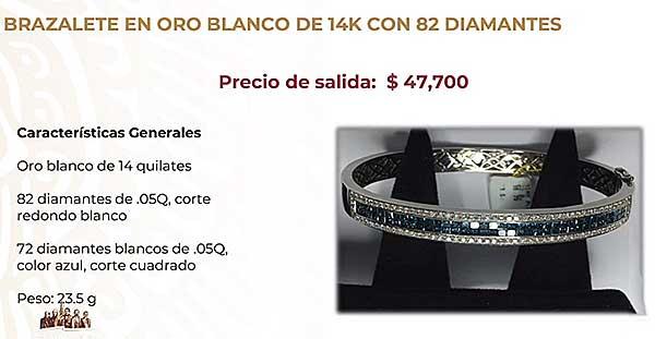 Brazalete en oro blanco de 14 kilates con 82 diamantes que tendrá un precio de salida de 47 mil 700 pesos. Imagen: Captura de video