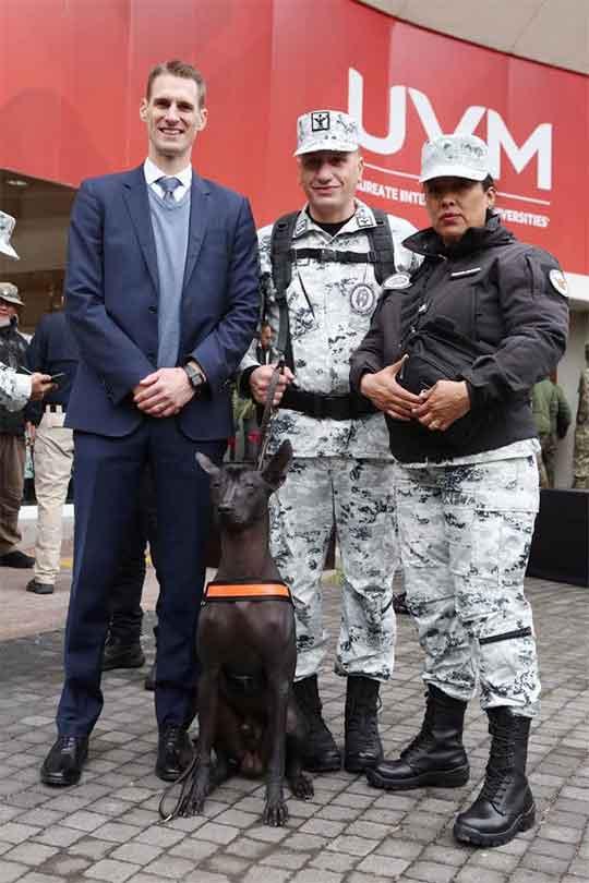 Miembros del ejército reciben de autoridade sde EU a los ejemplares animales que ayudarán en la lucha contra la delincuencia