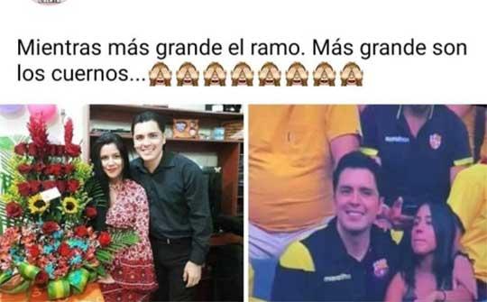 Dos imágenes, el infiel con su novia y un enorme ramo de rosas; y en la otra foto con su amiga en el estadio