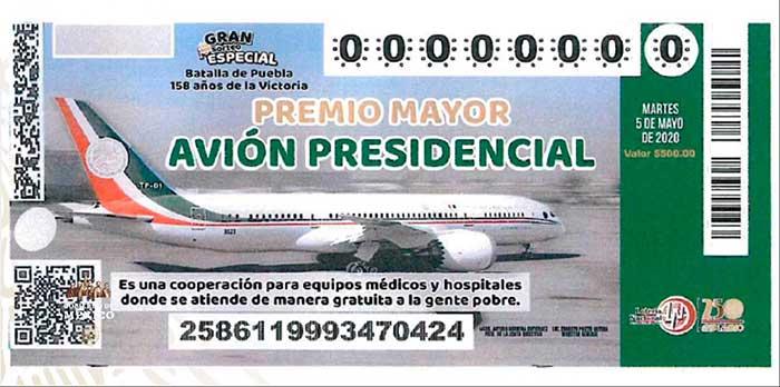 """Esta sería la imagen del """"cachito"""" de la lotería para la rifa del avión presidencial. Imagen: Captura de video"""