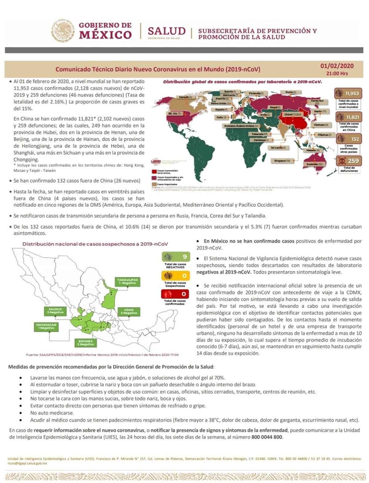 Imagen del informe de la Secretaría de Salud federal que alerta del caso del turista diagnosticado coronavirus que estuvo en CDMX