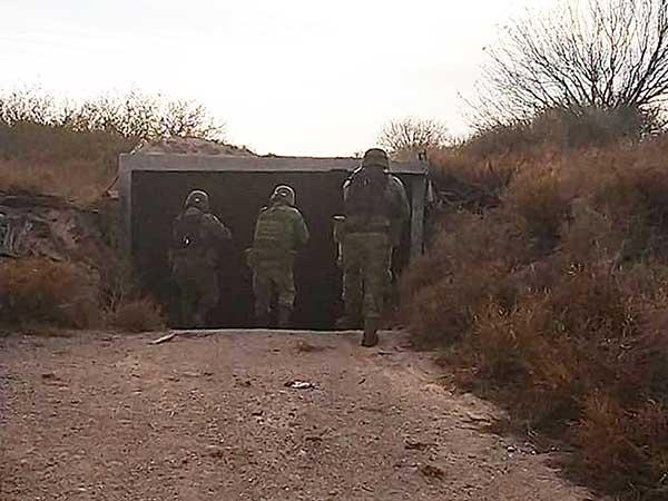 Entrada al bunker que el crimen organizado utilizaba en Tamaulipas. Foto: Especial