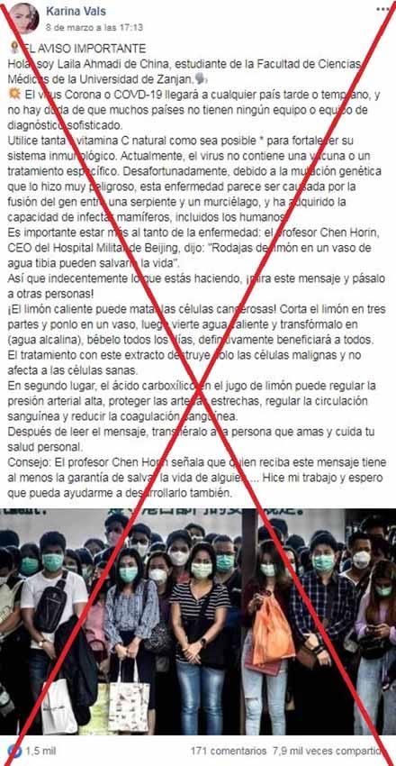 Captura de pantalla realizada el 13 de marzo de 2020 de una de las publicaciones en Facebook
