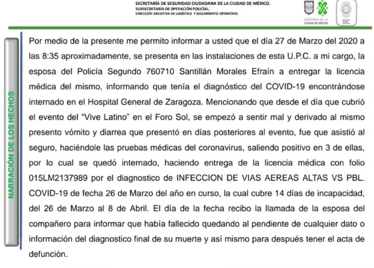 Muere policía por Covid-19; asistió a vigilar 'Vive Latino'