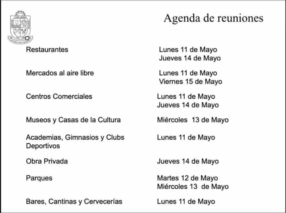 Lista de reuniones del edil de San Pedro, Miguel Treviño, con comerciantes de actividades no esenciales. Imagen: Periódico ABC