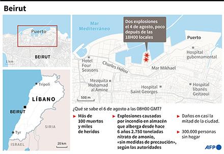 Mapa de Beirut y todo lo que se sabe el 6 de agosto a las 8H00 GMT sobre las explosiones que devastaron la capital libanesa el martes