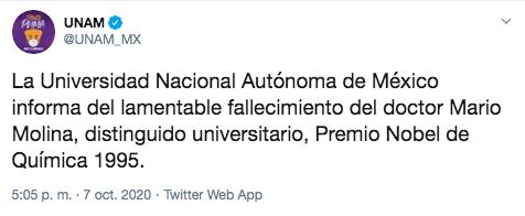 Muere Mario Molina, Premio Nobel de Química