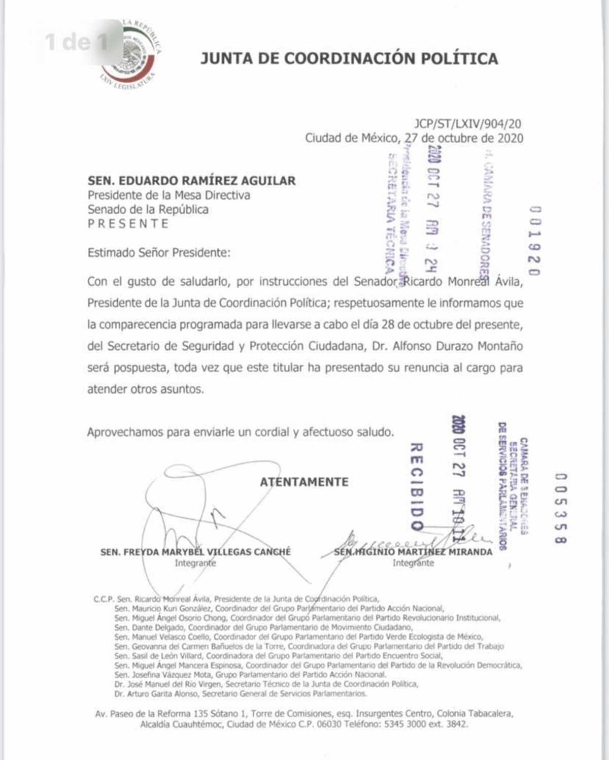 Boletín del Senado sobre Alfonso Durazo