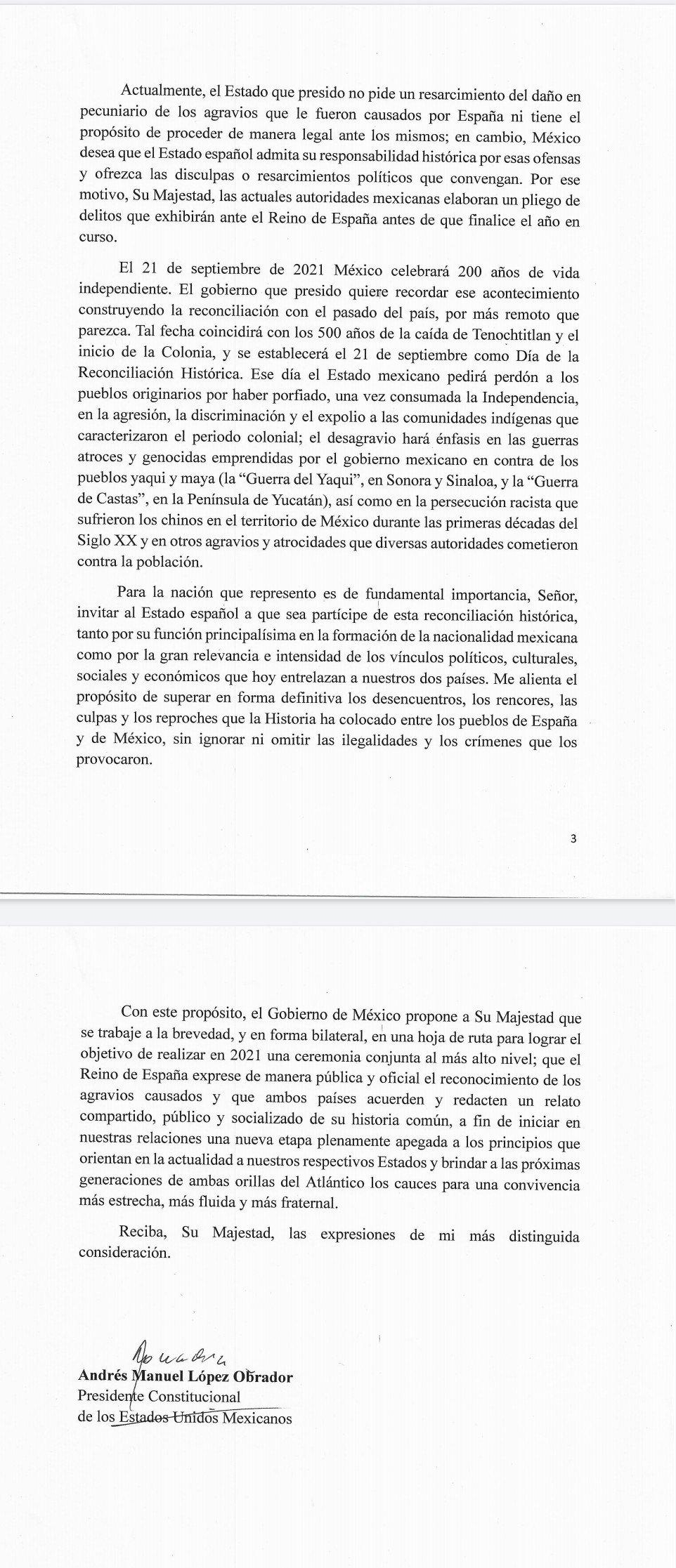 Carta del presidente Andrés Manuel López Obrador al rey de España, Felipe VI. Imagen: Especial