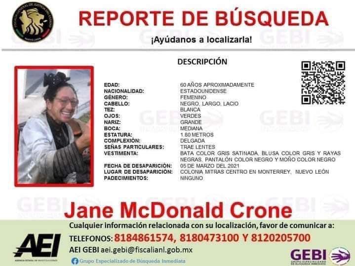El GEBI también emitió una ficha para la localización de Jane McDonald, quien ya fue localizada. Imagen: Especial