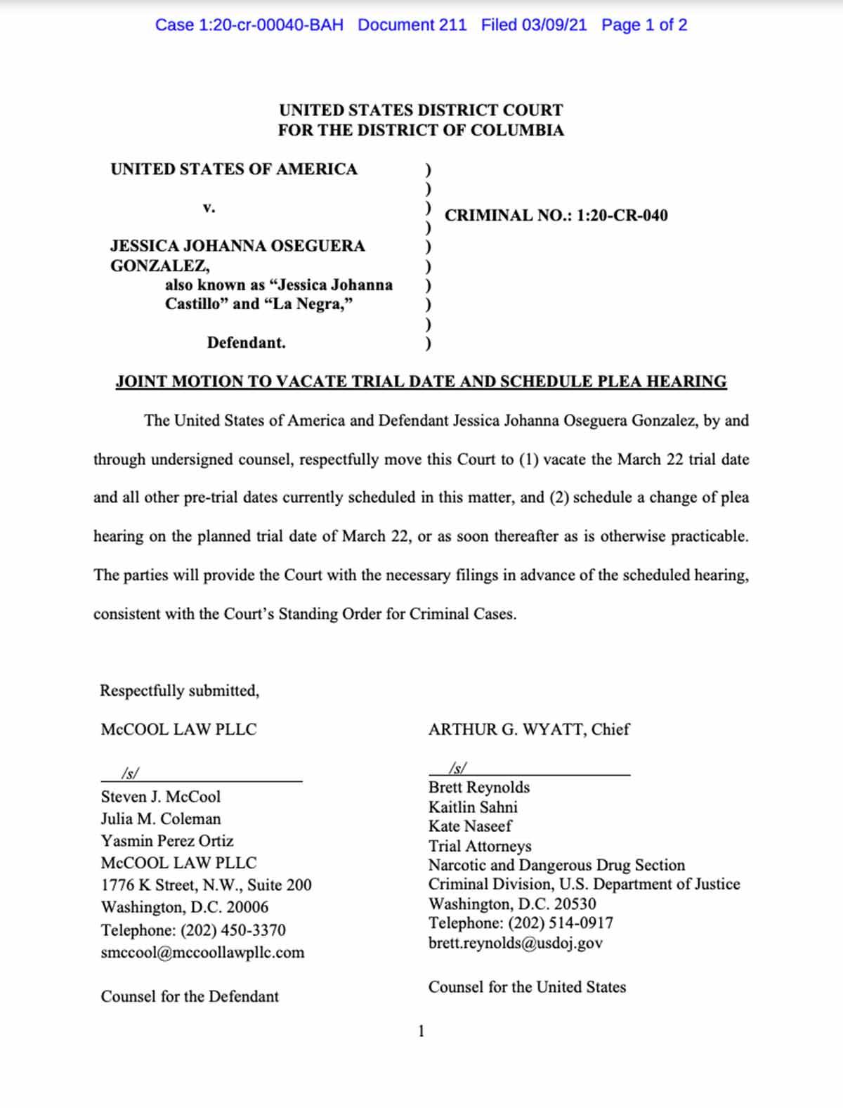 Acusación contra 'La Negra' presentada el 6 de diciembre de 2019 // Foto: District of Columbia
