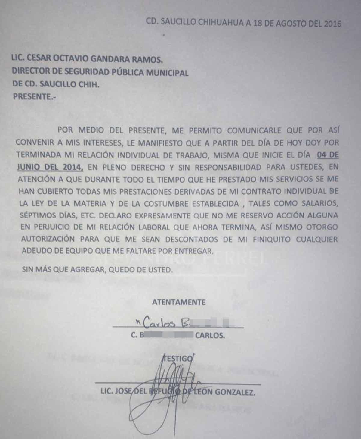 Imagen de carta de renuncia de Carlo, hijo de #LadyAzadon / Foto: Cículo Delicias