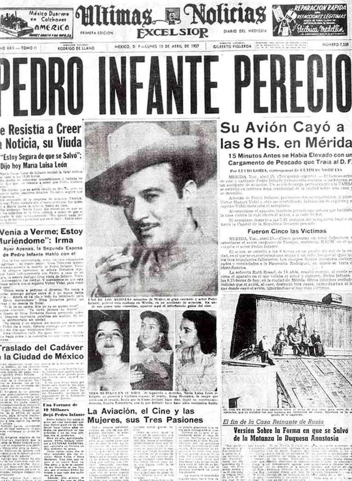 Cobertura de la muerte de Pedro Infante en Excélsior / Archivo