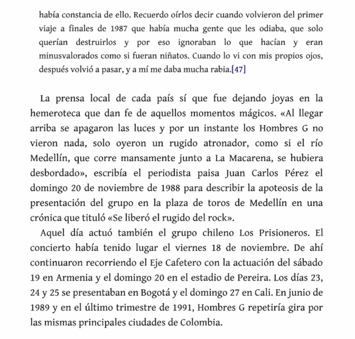 Extracto del libro de los Hombres G / Imagen: Especial