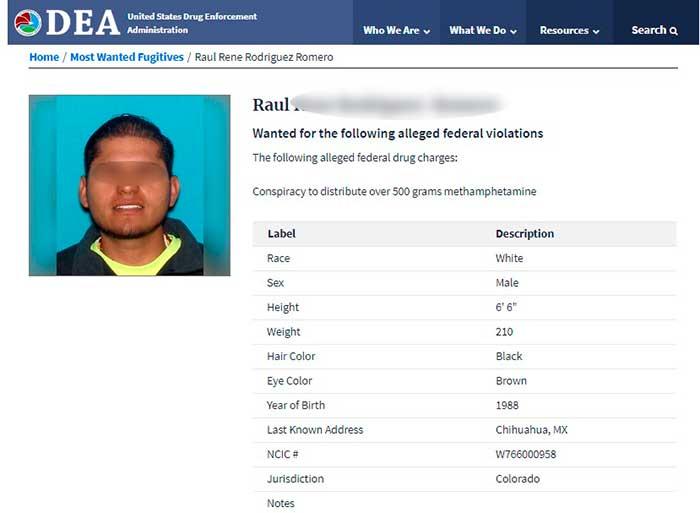 """Ficha de la DEA de Raúl """"N"""", mexicano acusado por delitos contra la salud y lavado de dinero. Imagen: DEA"""