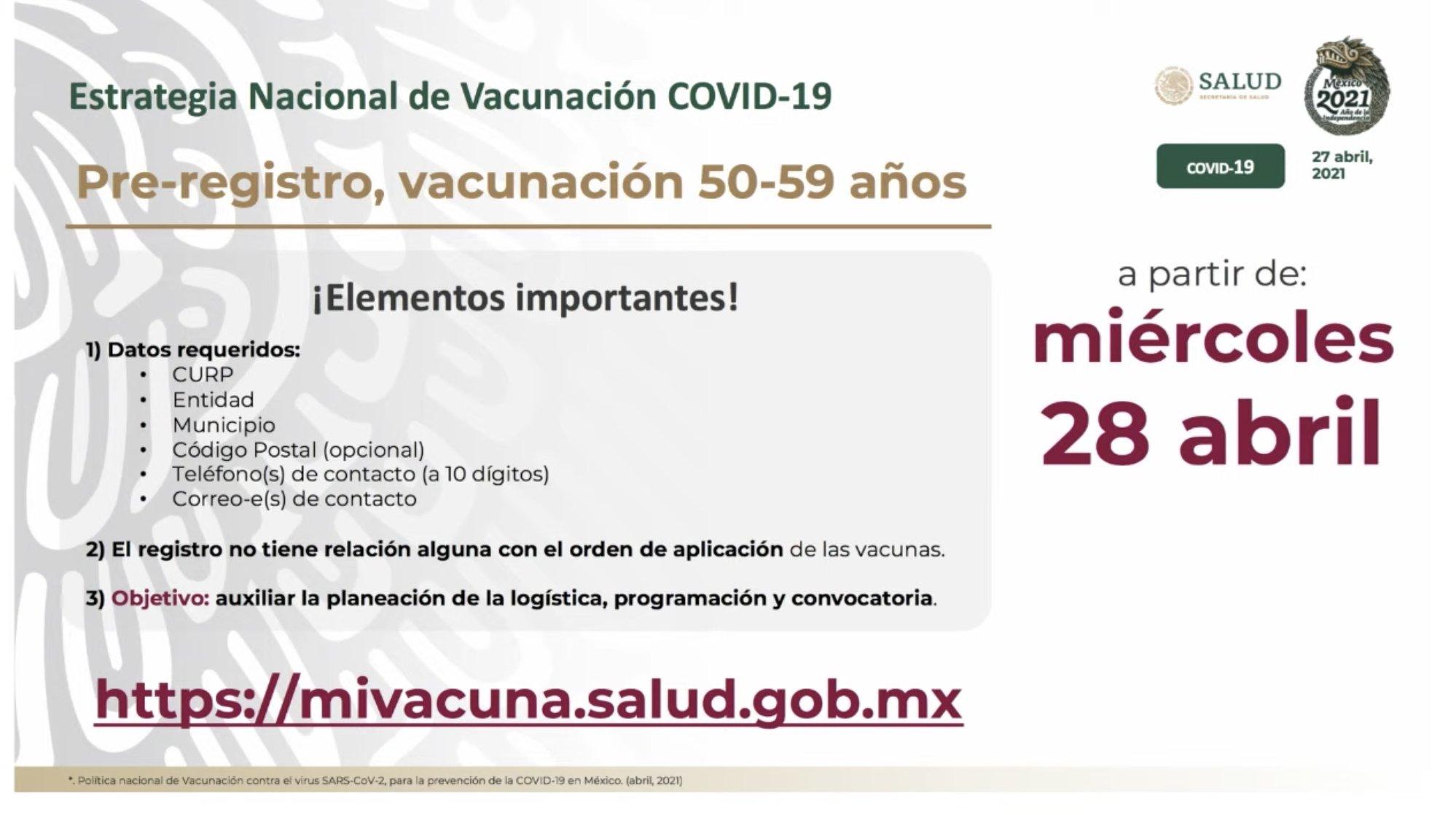 Mañana inicia el prerregistro para la vacunación de adultos de entre 50 a 59 años de edad. Imagen: Ssa