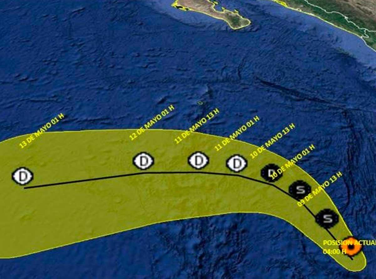 Previsión de la trayectoria del primer ciclón tropical del año. Imagen: NWS