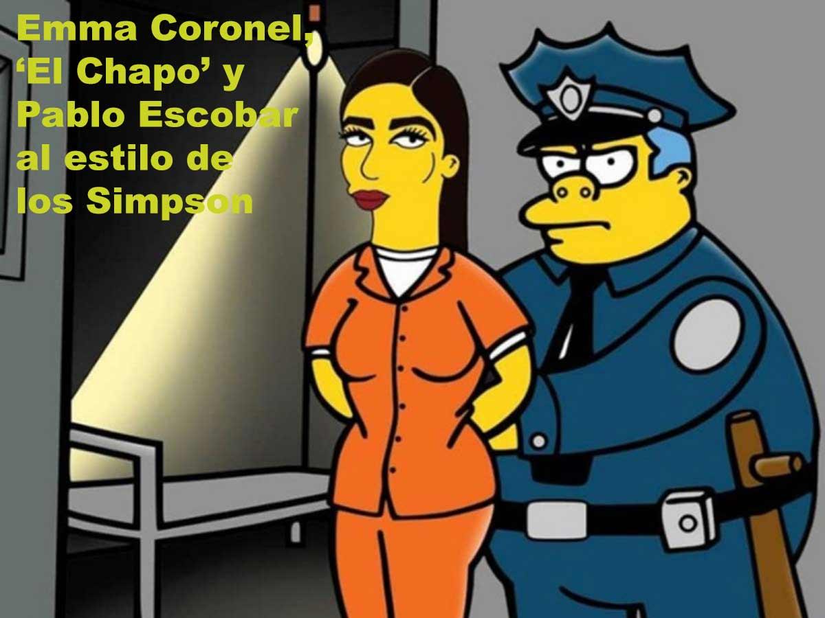 Emma Coronel, 'El Chapo' y Pablo Escobar al estilo de los Simpson
