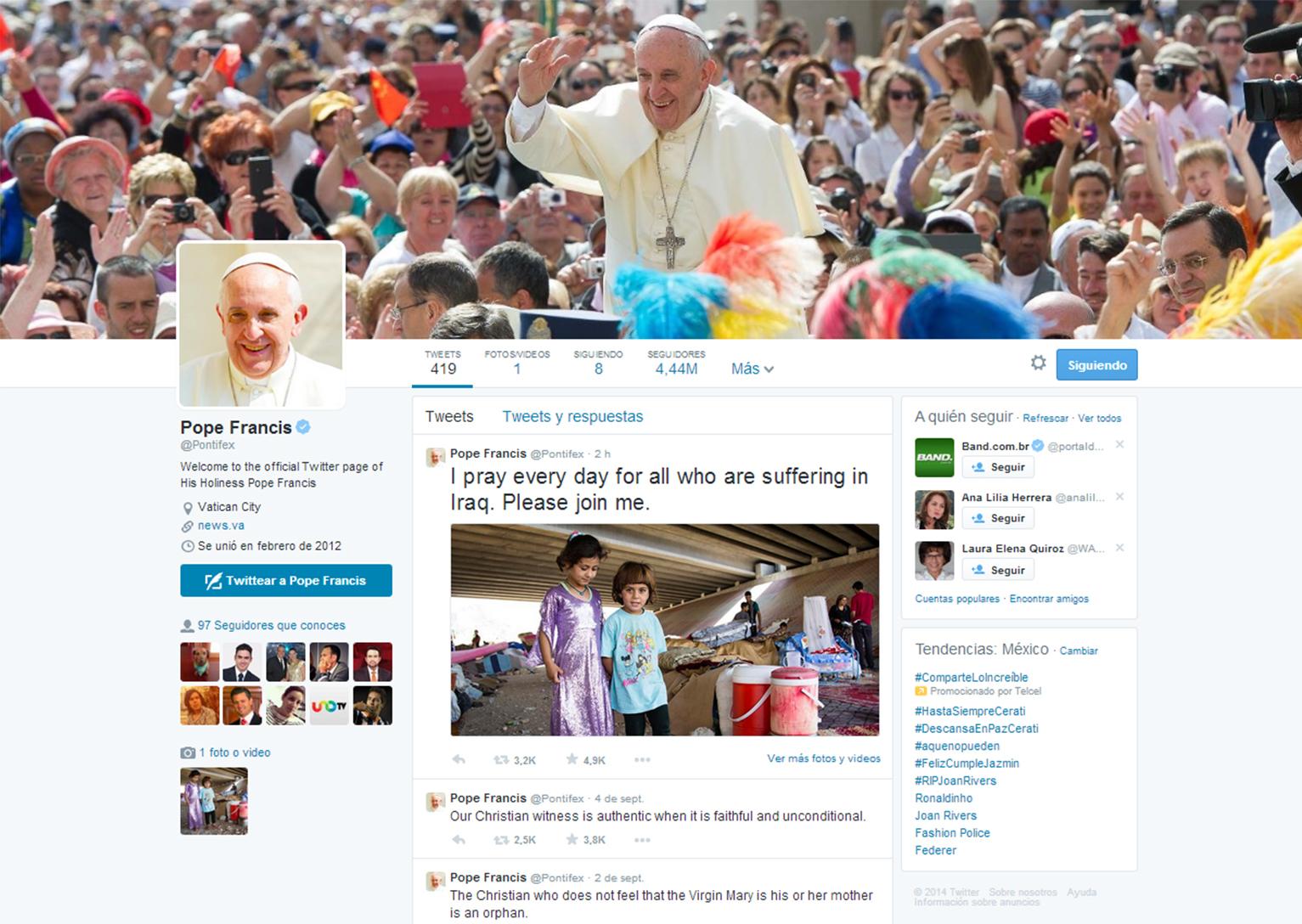 """El perfil en español (@pontifex_es) el más seguido con seis millones 634 mil 719 """"followers""""."""