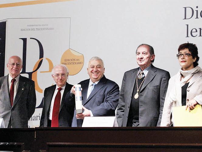 Emilio Chuayffet, titular de la SEP, en medio de Jaime Labastida, director de la AML, y del poeta mexicano Eduardo Lizalde. Foto: Claudia Aréchiga