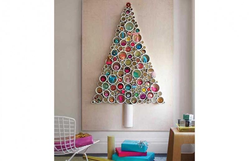 Dibujos De Navidad Para Decorar La Clase.Estos Arboles De Navidad En La Pared Te Encantaran