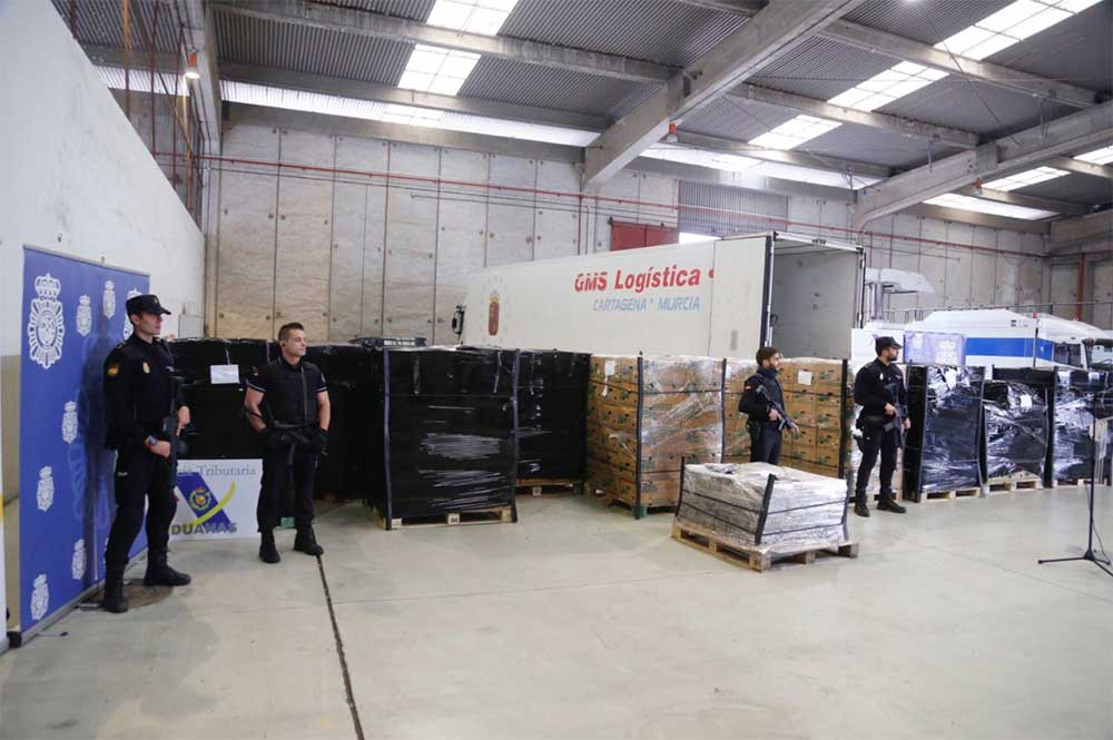Seis detenidos en España por 9 toneladas de cocaínas procedentes de Colombia